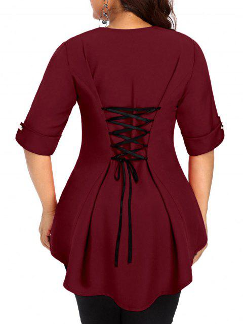 Plus Size Back Criss Cross High Low Top - RED WINE 4X