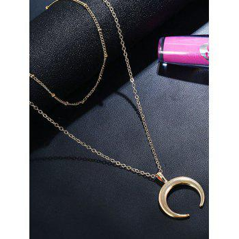 Crescent Moon Layered Chain Necklace - GOLD