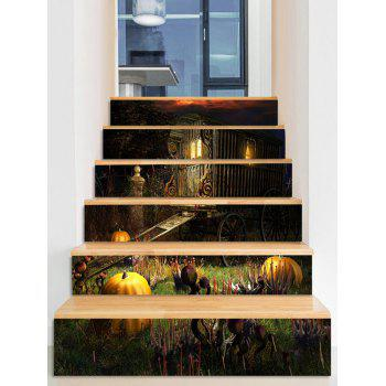 Halloween Pumpkin Carriage Pattern Stair Stickers - multicolor 6PCS:39*7 INCH( NO FRAME )