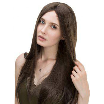 Middle Part Long Straight Heat Resistant Capless Synthetic Wig - DEEP BROWN