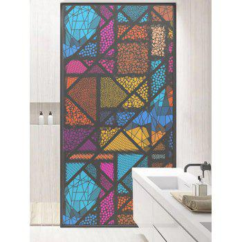 Colorful Geometric Print Frosted Translucent Glass Sticker - multicolor 18*23 INCH