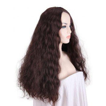 Long Side Parting Corn Hot Wavy Party Cosplay Synthetic Wig - DEEP COFFEE