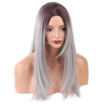 Long Middle Part Straight Ombre Cosplay Synthetic Wig - multicolor