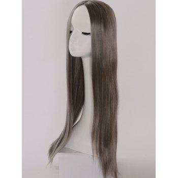 Long Center Parting Straight Capless Synthetic Party Wig - GRAY