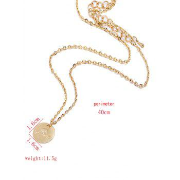 Round Sea Wave Printed Chain Necklace - GOLD