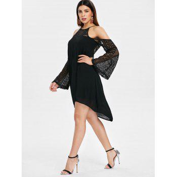Back Cut Out Lace Sleeve Shift Dress - BLACK M