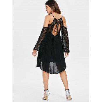 Back Cut Out Lace Sleeve Shift Dress - BLACK 2XL