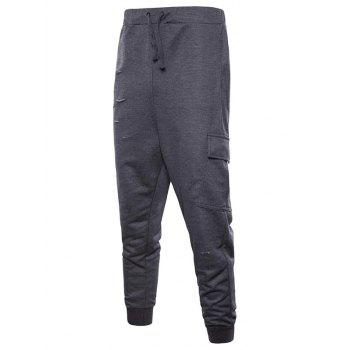 Drawstring Distressed Multi-pocket Jogger Pants - DARK GRAY XL