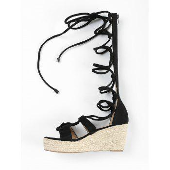 ZAFUL Lace Up Wedge Heel Sandals - BLACK 36