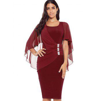 Robe Moulante Cape Embellie de Strass - Rouge Vineux XL