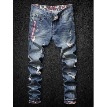Letter Print Ripped Zip Fly Jeans - BLUE 38