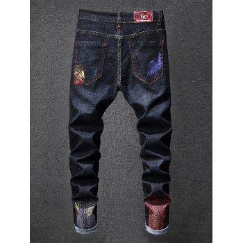 Distressed Zip Fly Colorful Paint Jeans - DEEP BLUE 32