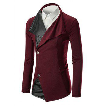 Blazer à Boutonnage Simple et Empiècement de Col Officier - Rouge Vineux 2XL