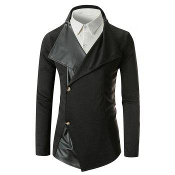 Blazer à Boutonnage Simple et Empiècement de Col Officier - Noir M