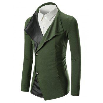 Stand Collar Panel Single Breasted Blazer - GREEN XL