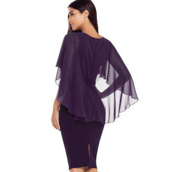 Robe Moulante Cape Embellie de Strass - Pourpre L