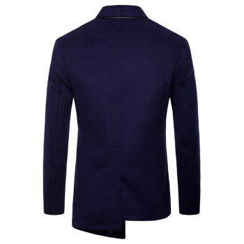 Veste Asymétrique Sans Col à Boutonnage Simple - Cadetblue 2XL