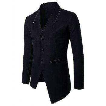 Collarless Single Breasted Asymmetric Blazer - BLACK L