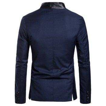 Flap Pockets Button Design Panel Blazer - CADETBLUE XL