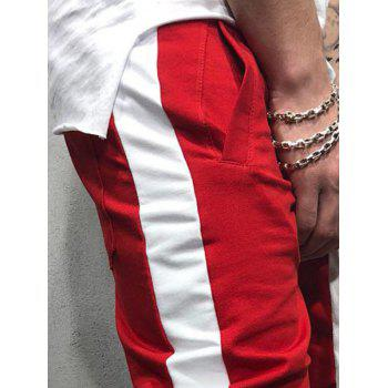 Two Tones Side Striped Patch Sports Pants - RED L