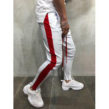 Two Tones Side Striped Patch Sports Pants - WHITE XL