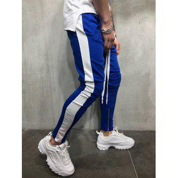 Two Tones Side Striped Patch Sports Pants - BLUE M