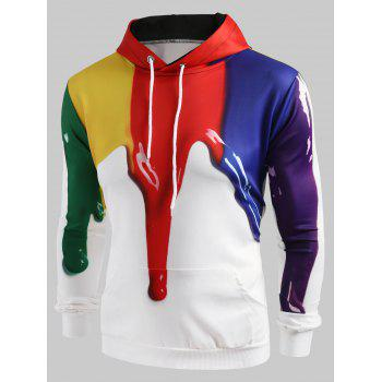 3D Paint Dripping Print Pullover Hoodie - WHITE 3XL