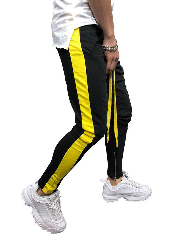 Two Tones Side Striped Patch Sports Pants - BLACK M