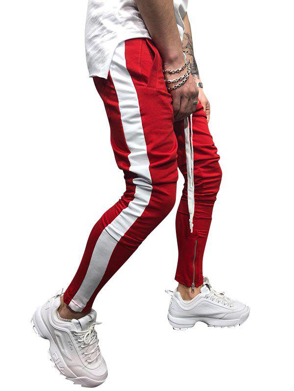 Two Tones Side Striped Patch Sports Pants - RED M