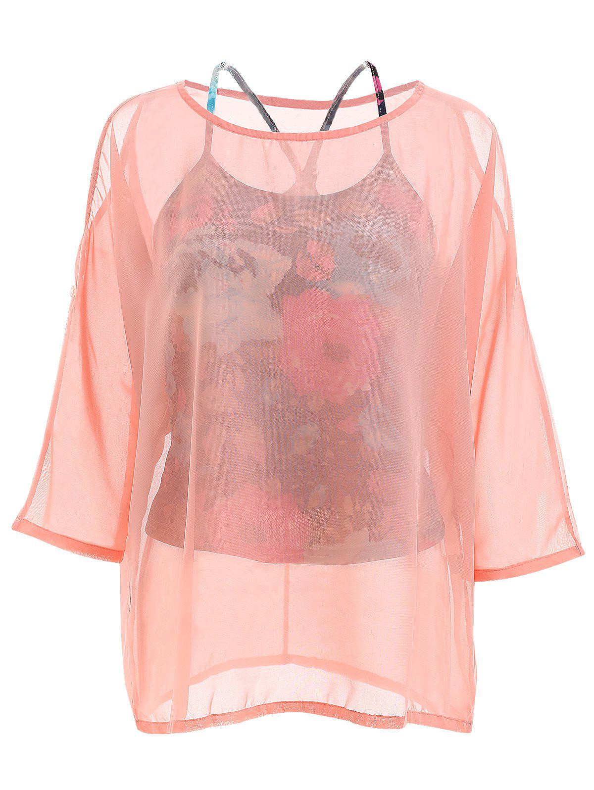 Elegant Off-The-Shoulder Long Sleeve Chiffon Blouse + Floral Print Vest Women's Twinset - PINK ONE SIZE
