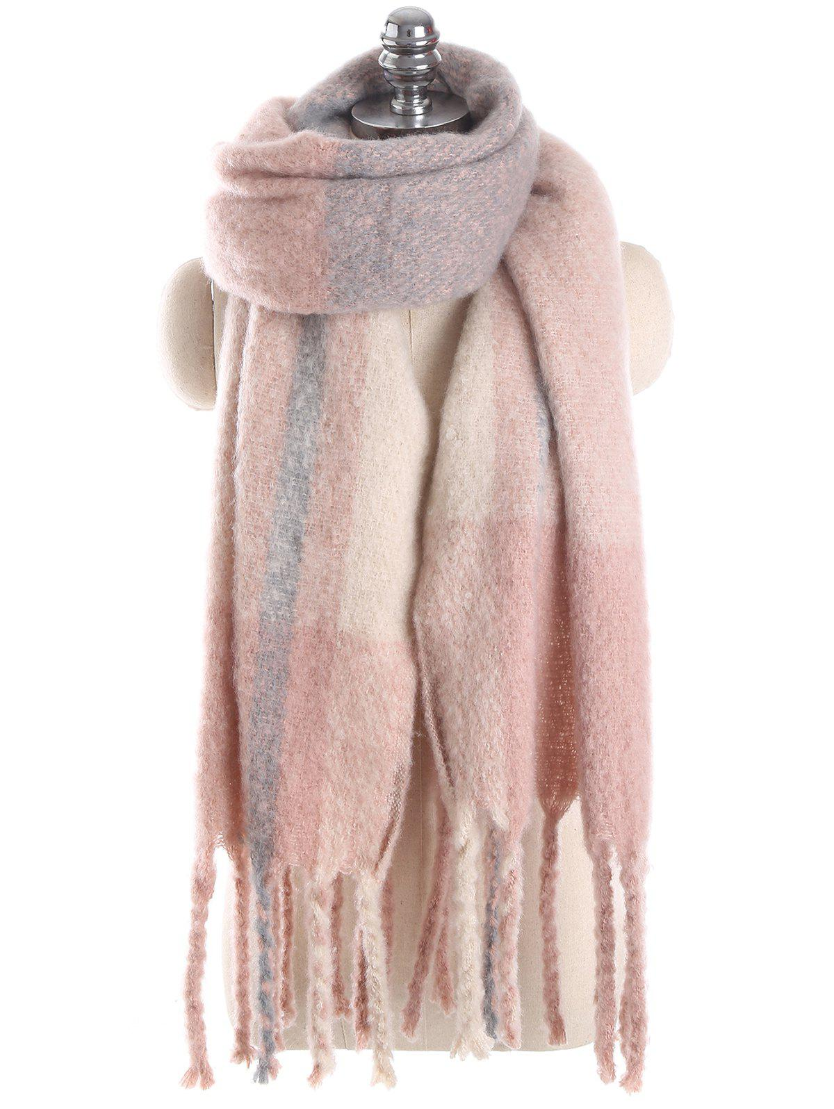 Winter Plaid Fringed Long Scarf - PINK ONE SZIE