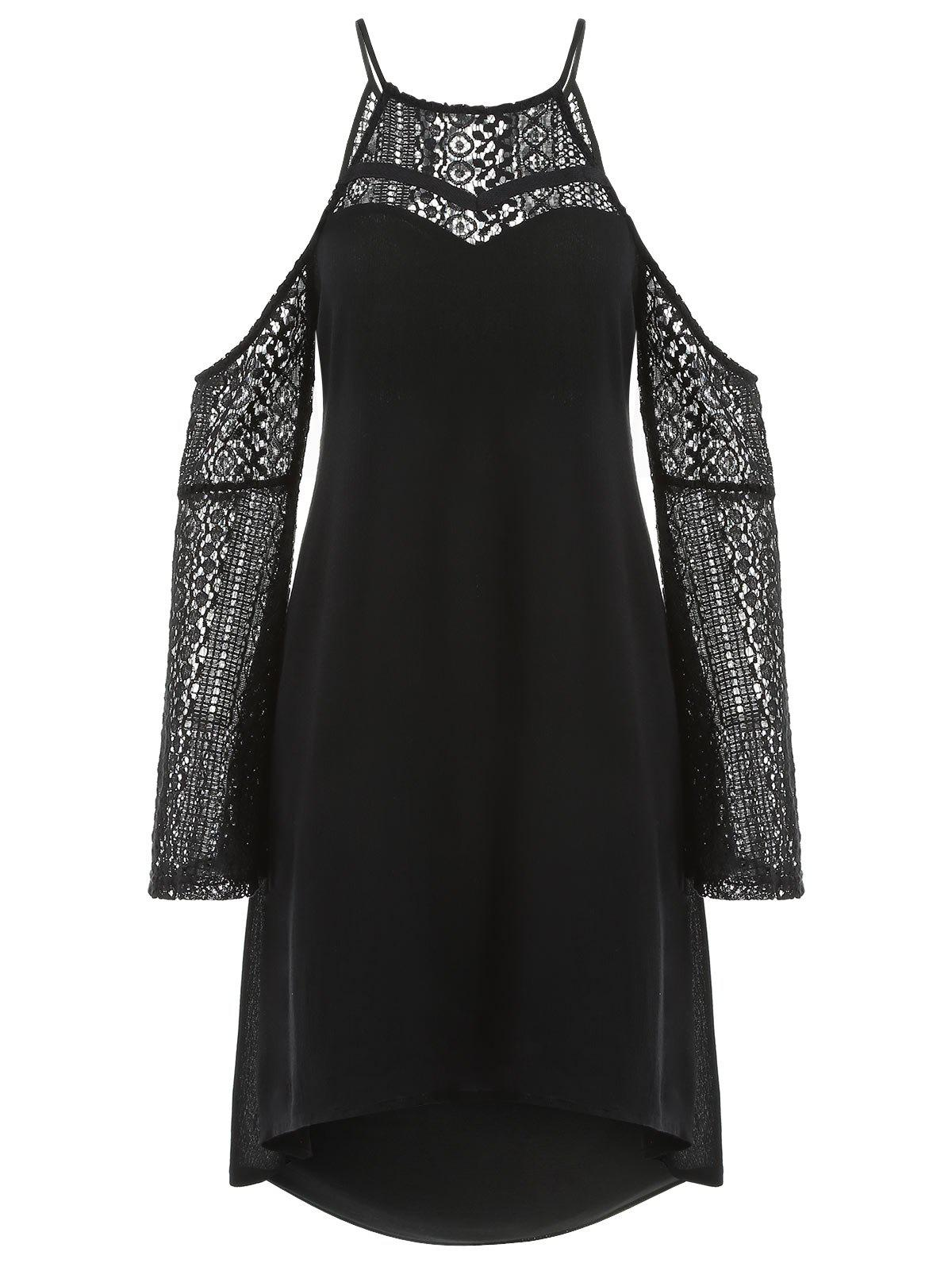 Back Cut Out Lace Sleeve Shift Dress