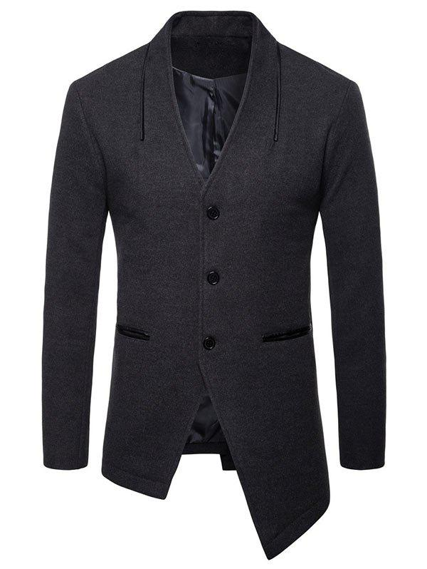 Collarless Single Breasted Asymmetric Blazer - DARK GRAY 2XL