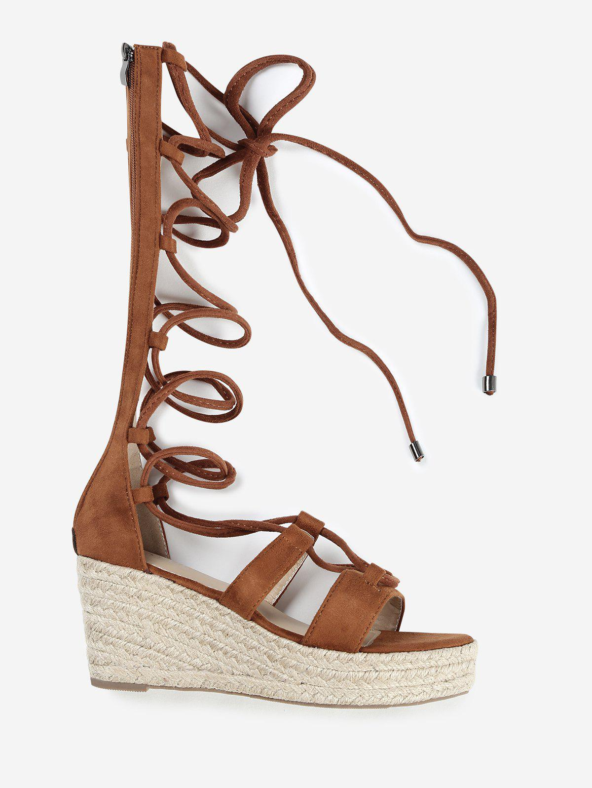ZAFUL Wedge Heel Strappy Gladiator Mid Calf Sandals - BROWN 40