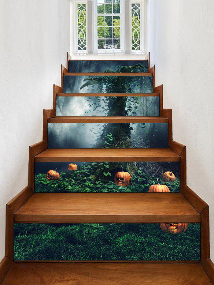Autocollants d'Escaliers Motif Citrouilles d'Halloween et Arbre - multicolor 100*18CM*6PCS