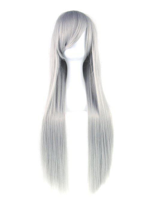 Long Inclined Bang Straight Cosplay Party Synthetic Wig - GRAY GOOSE