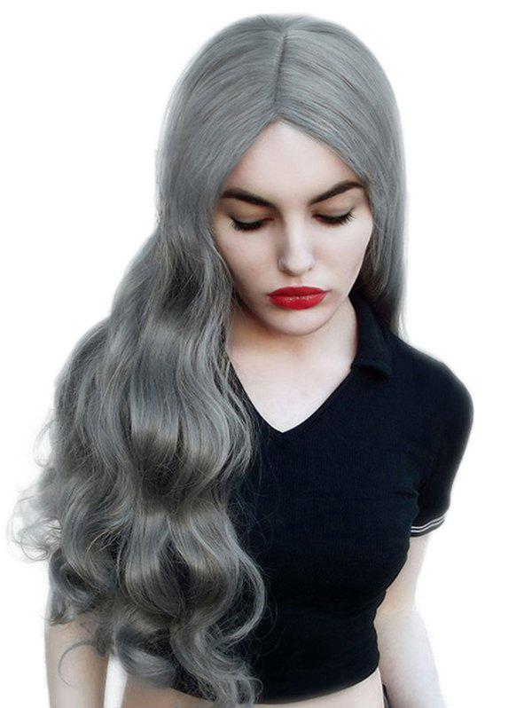 Long Center Parting Wavy Party Cosplay Synthetic Wig - SMOKEY GRAY