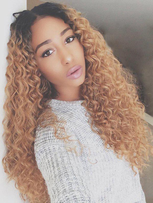 Long Center Parting Corn Hot Curly Colormix Synthetic Wig - BROWN