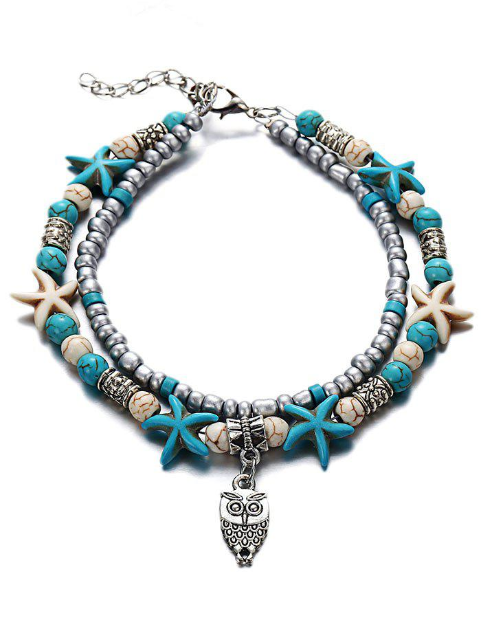 Double Layer Starfish Charm Anklet - multicolor