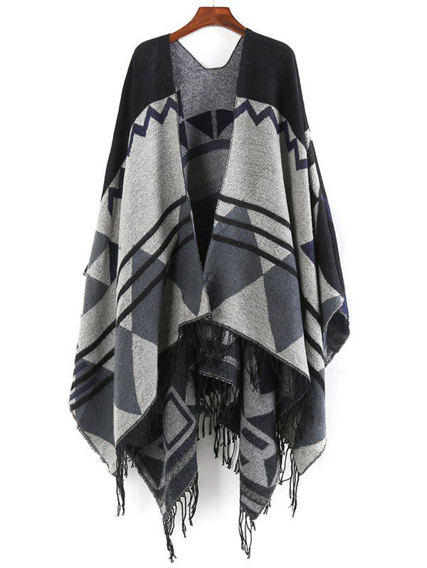 Fringed Oversized Wrap Scarf - BLACK ONE SZIE