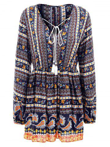 Elastic Waist Long Sleeve Bohemia Print Dress