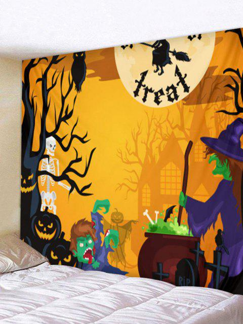 Halloween Skeleton Sorcerer Printed Wall Tapestry - multicolor W79 INCH * L59 INCH