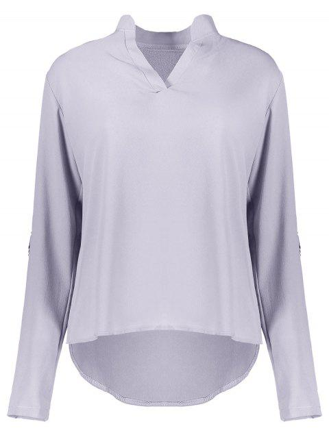 Simple Style Solid Color V-Neck 3/4 Sleeve Chiffon Blouse For Women - GRAY S