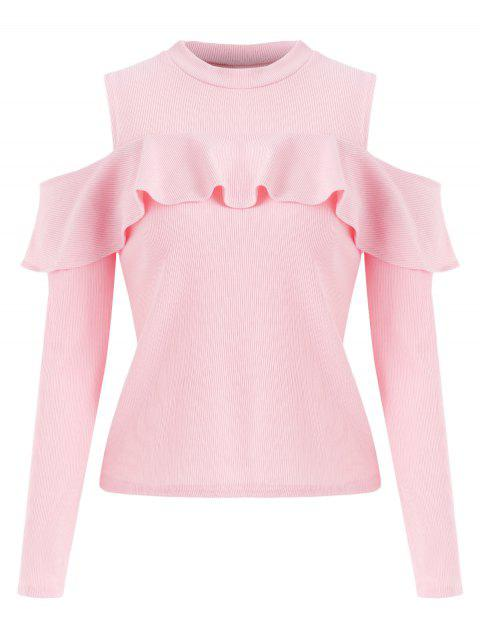 Ruffled Ribbed Cold Shoulder Knitwear - PIG PINK L