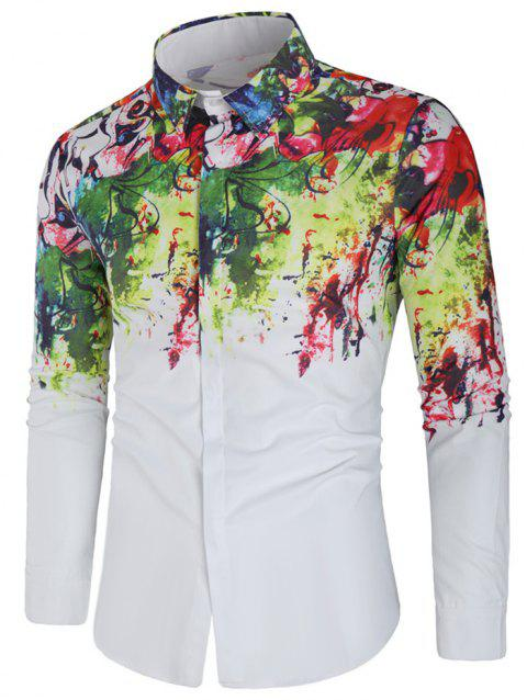 Graffiti Art Print Long Sleeve Shirt - WHITE L