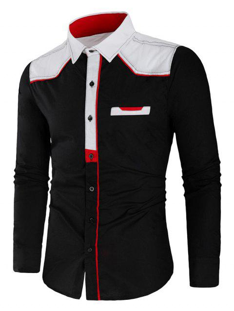 Slim Fit Long Sleeve Color Block Shirt - BLACK 3XL