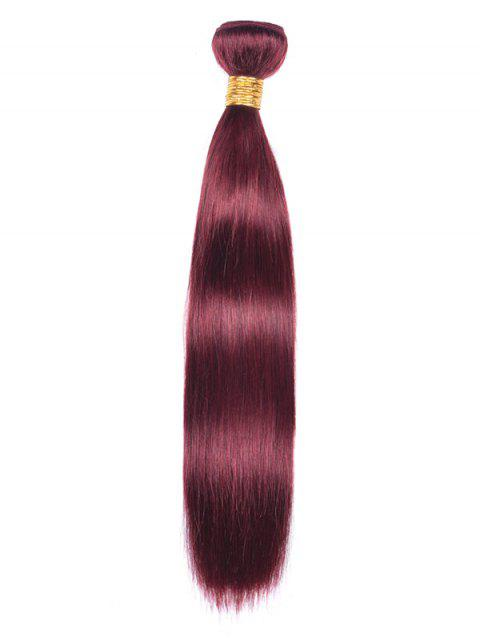 Indian Real Natural Hair Straight Party Hair Weave - RED WINE 14INCH