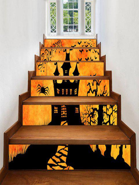Halloween Spooky Castle Print Stair Stickers - ORANGE 100*18CM*6PCS
