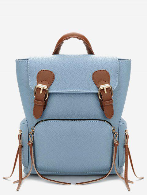 Contrast Color Buckle Travel Backpack - LIGHT SKY BLUE