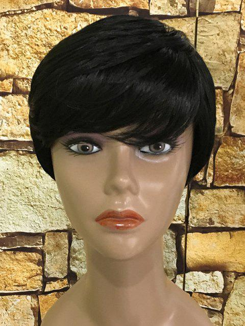 Inclined Bang Straight Short Heat Resistant Synthetic Wig - BLACK